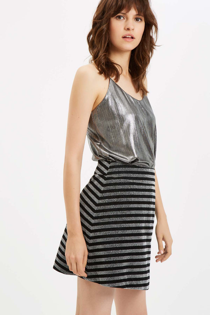 Traffic People I Like To Boogie Metallic Camisole in Silver Front View Image