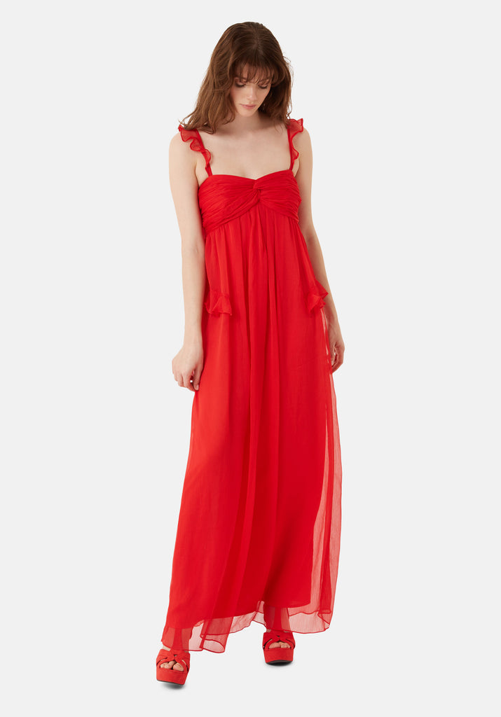 Traffic People Red Dance On The Sand Chiffon Maxi Dress Back View Image