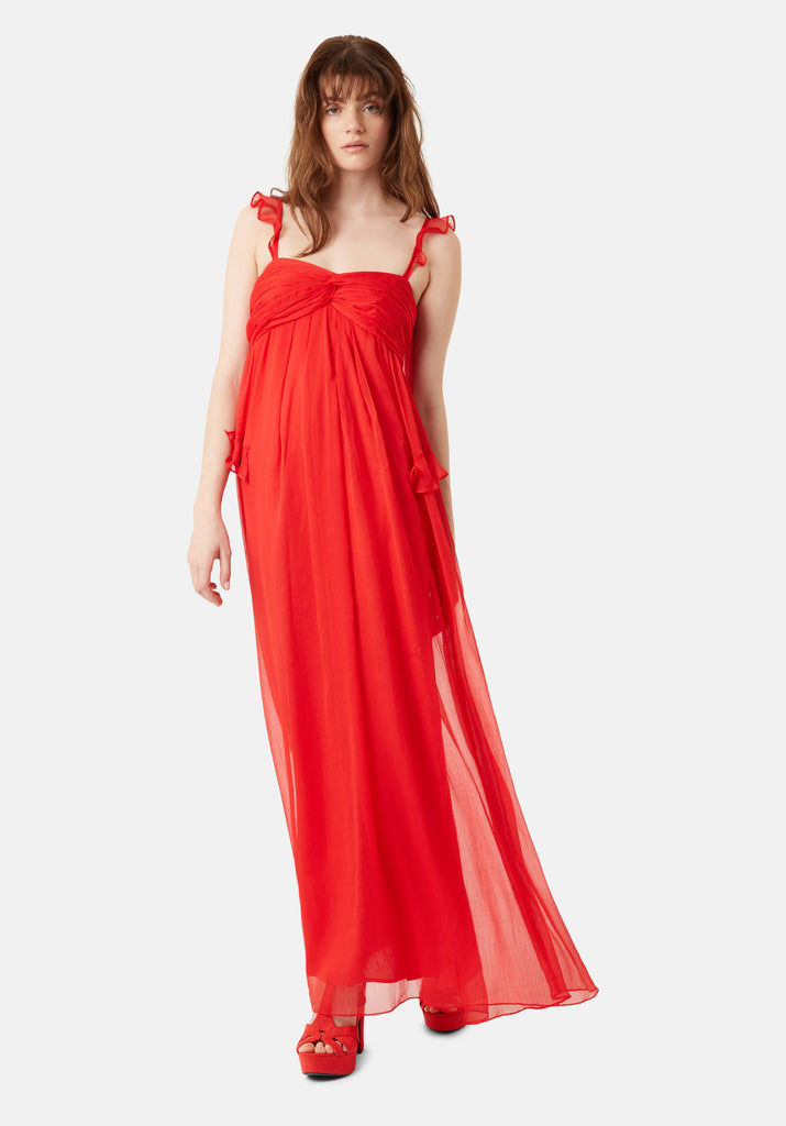 Traffic People Red Dance On The Sand Chiffon Maxi Dress Front View Image