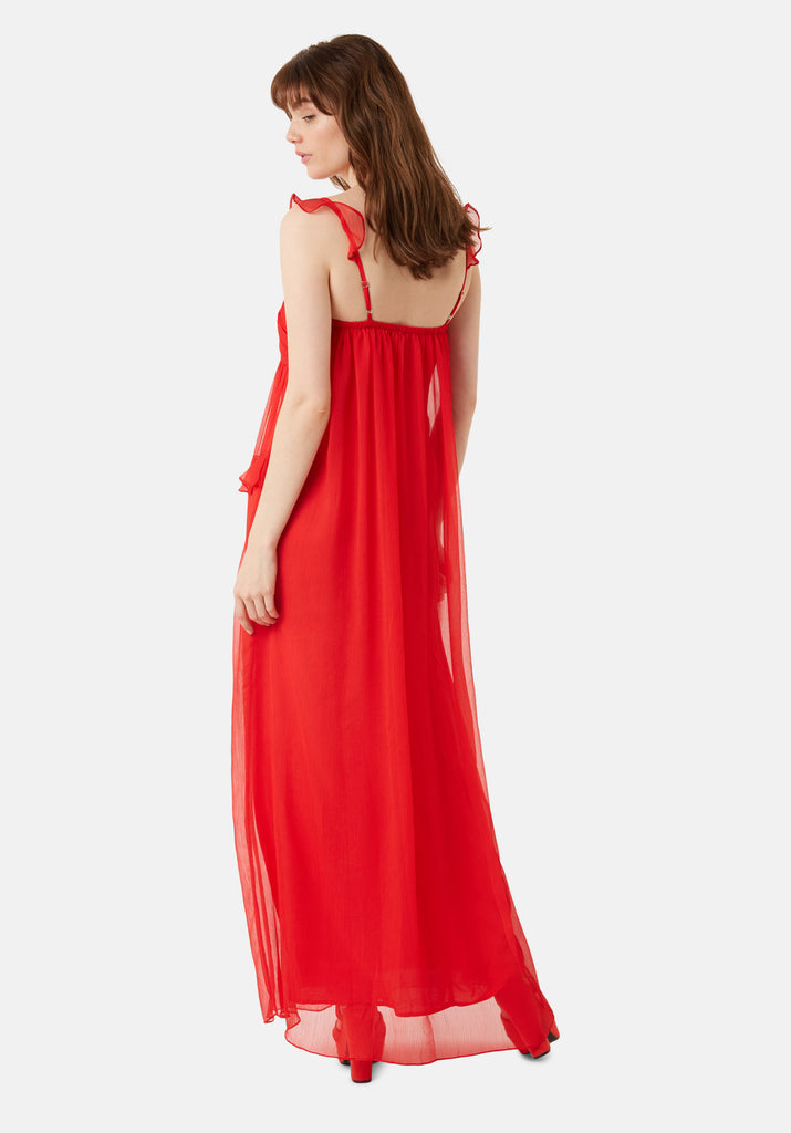 Traffic People Red Dance On The Sand Chiffon Maxi Dress Side View Image