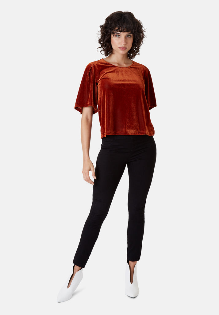 Traffic People Whisper Short Sleeve Top in Rust Brown Front View Image