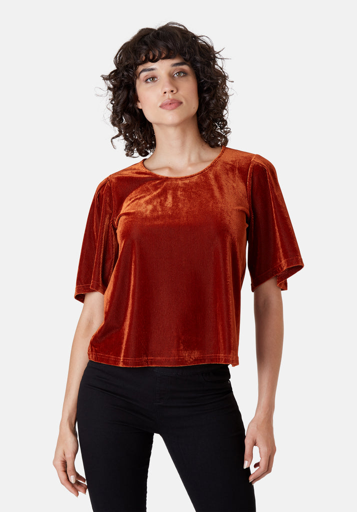Traffic People Whisper Short Sleeve Top in Rust Brown Side View Image