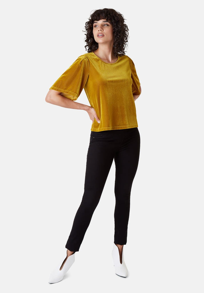 Traffic People Whisper Velvet Top in Gold Front View Image