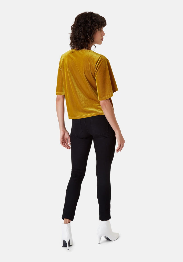 Traffic People Whisper Velvet Top in Gold Back View Image