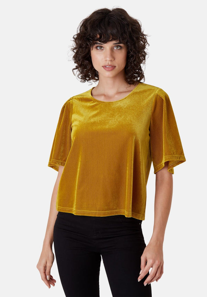 Traffic People Whisper Velvet Top in Gold Side View Image