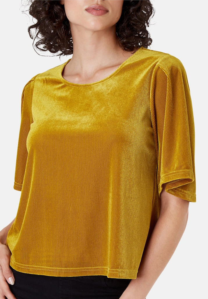 Traffic People Whisper Velvet Top in Gold Close Up Image