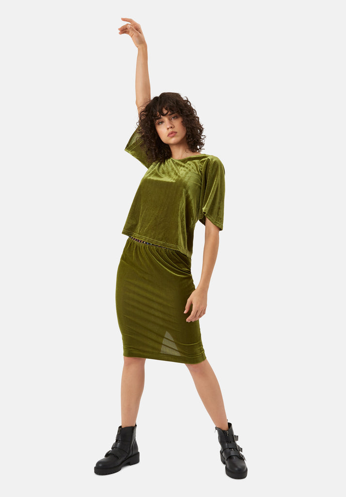 Traffic People Whisper Velvet Top in Green Side View Image