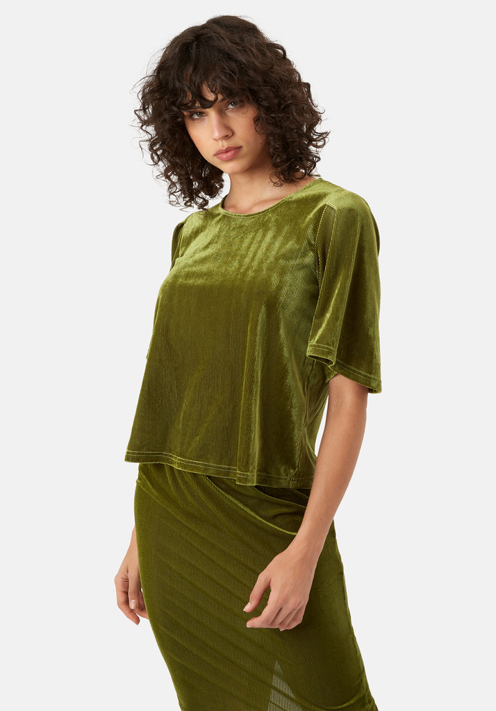 Traffic People Whisper Velvet Top in Green Front View Image