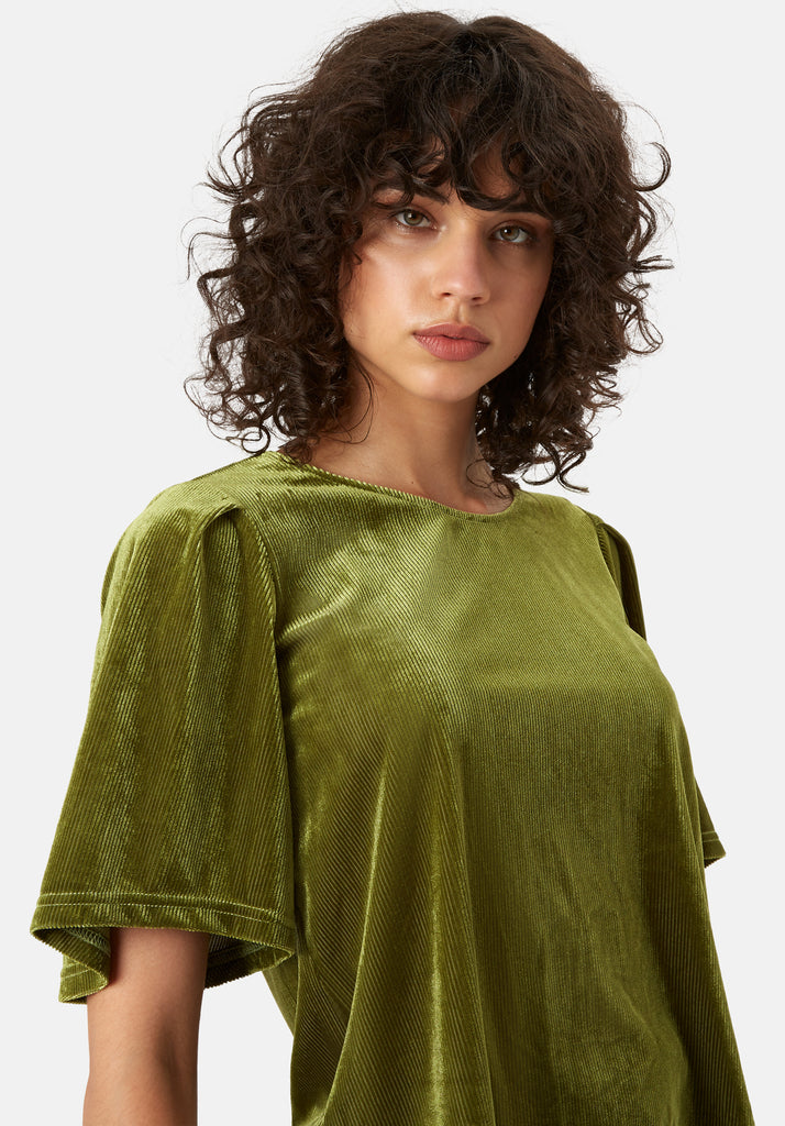 Traffic People Whisper Velvet Top in Green Close Up Image