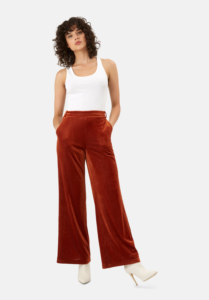 Traffic People JIC Straight Leg Velvet Trousers in Rust Brown Front View Image