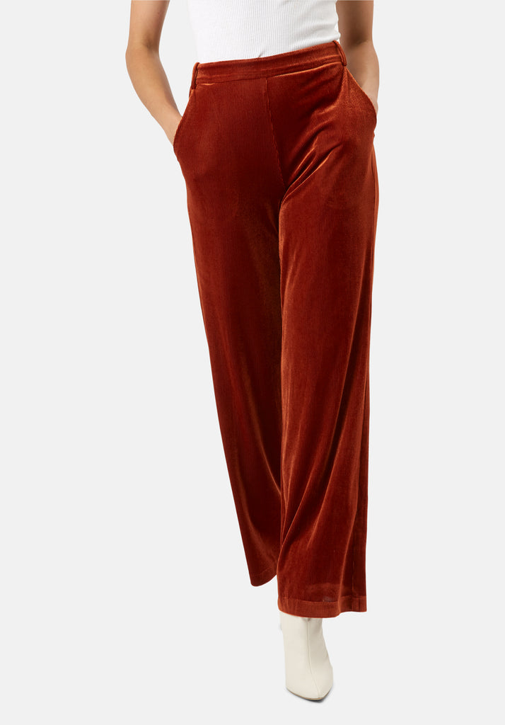 Traffic People JIC Straight Leg Velvet Trousers in Rust Brown Side View Image