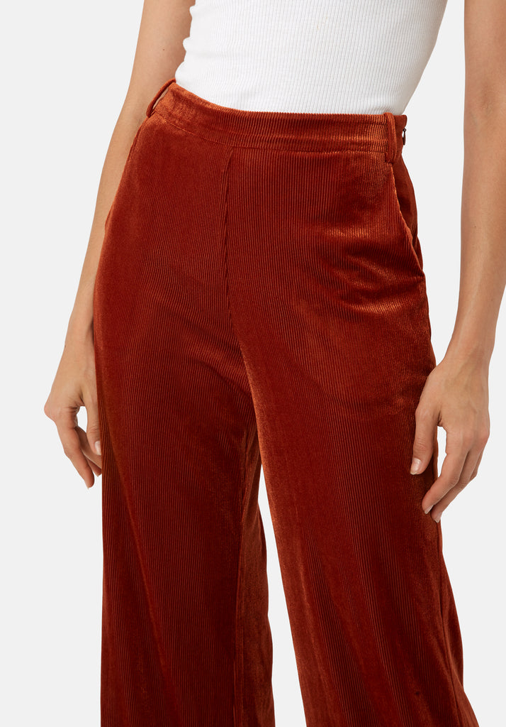 Traffic People JIC Straight Leg Velvet Trousers in Rust Brown Close Up Image