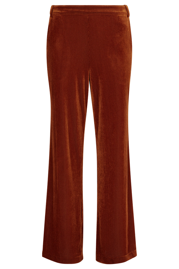 Traffic People JIC Straight Leg Velvet Trousers in Rust Brown FlatShot Image