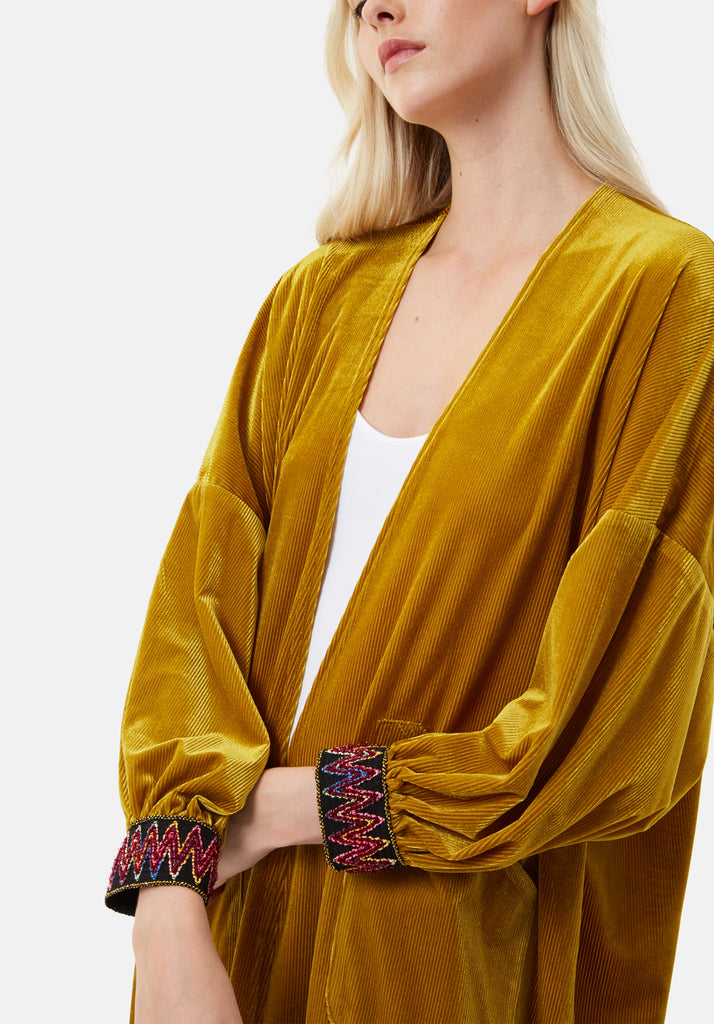 Traffic People JIC Velvet Long Duster Jacket in Gold Close Up Image