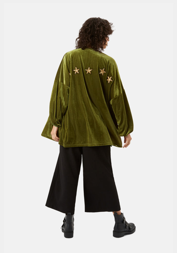 Traffic People Star Dust Velvet Jacket in Green Front View Image