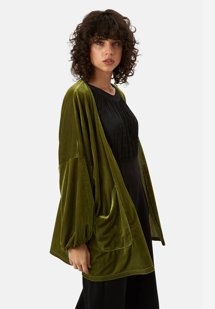 Traffic People Star Dust Velvet Jacket in Green Side View Image