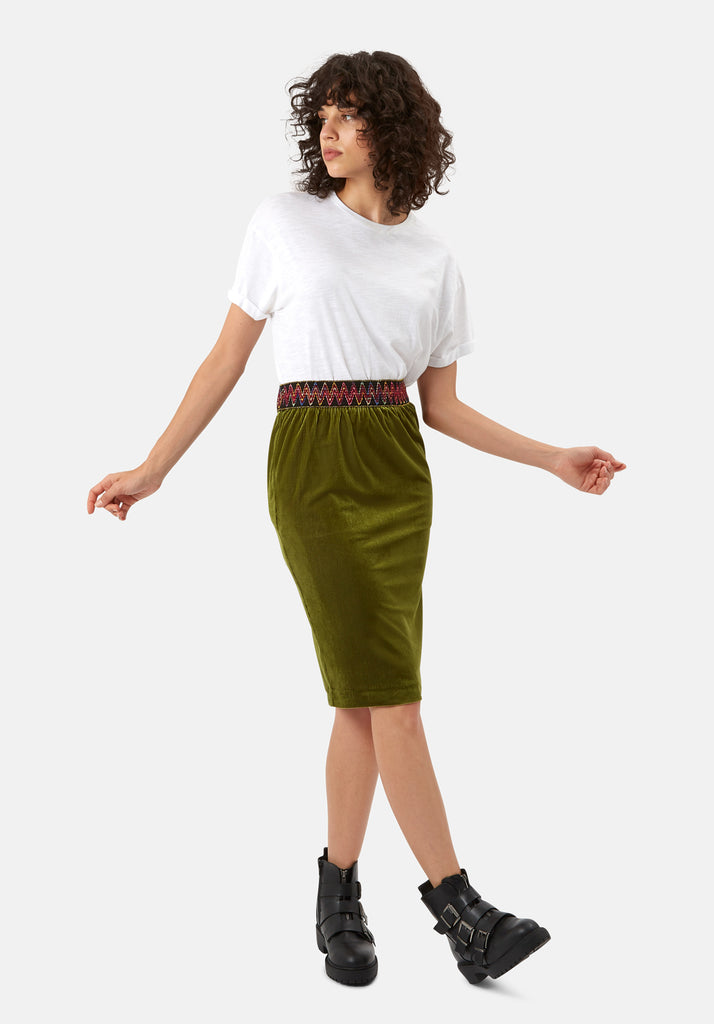 Traffic People JIC Pencil Skirt in Green Front View Image