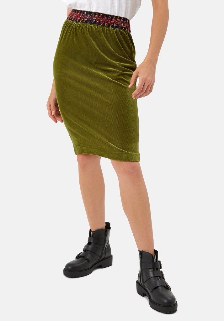 Traffic People JIC Pencil Skirt in Green Back View Image