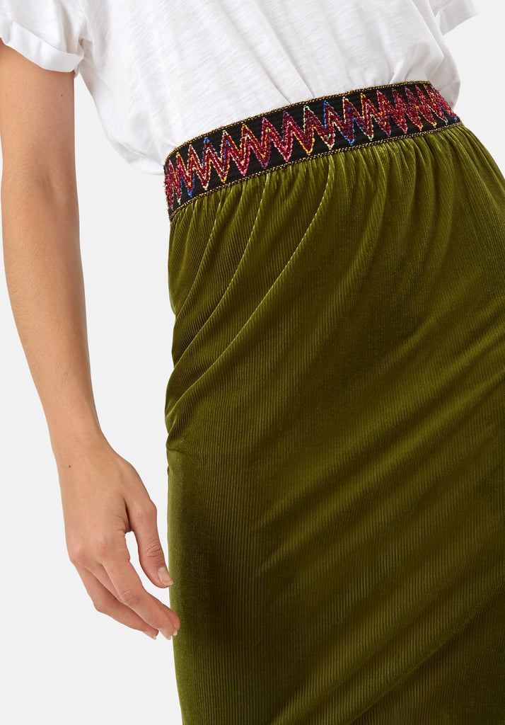 Traffic People JIC Pencil Skirt in Green Close Up Image