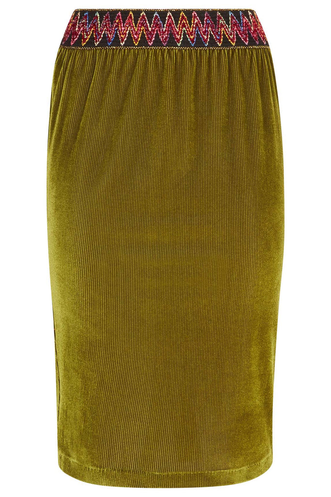 Traffic People JIC Pencil Skirt in Green FlatShot Image