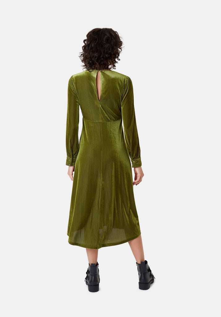 Traffic People Pulse Velvet Midi V-neck Dress in Green Side View Image