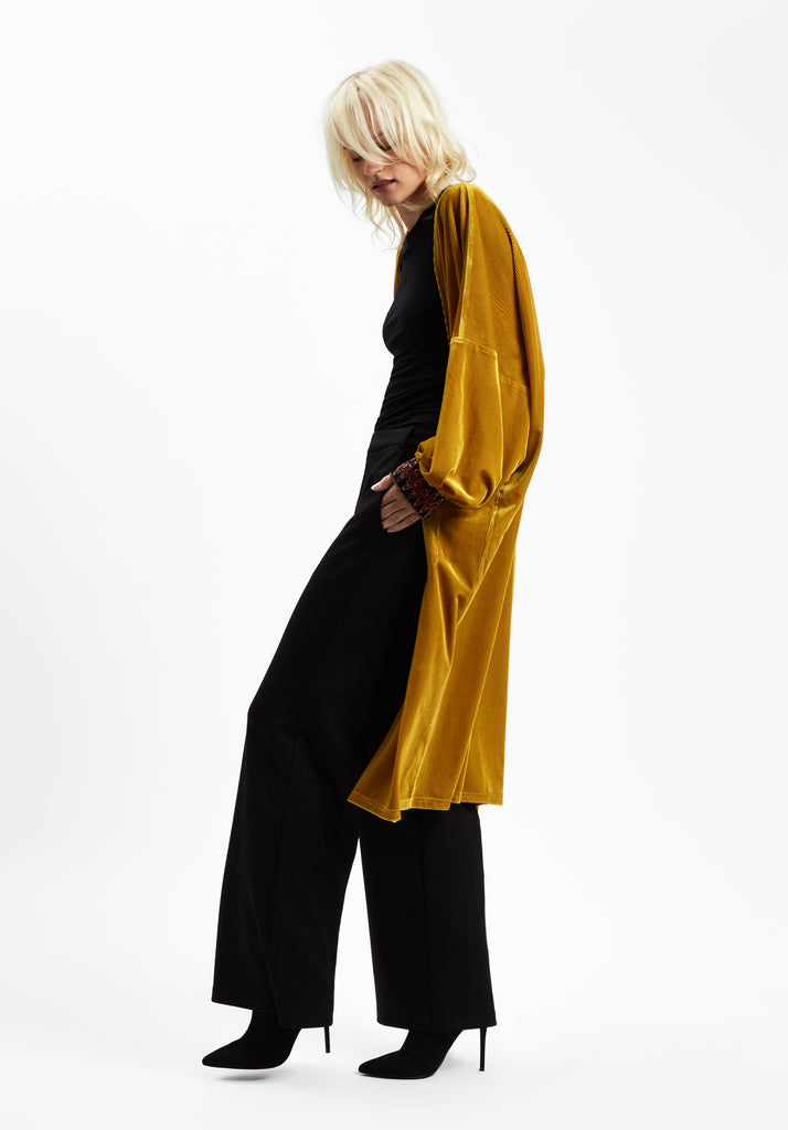 Traffic People JIC Velvet Long Duster Jacket in Gold Side View Image