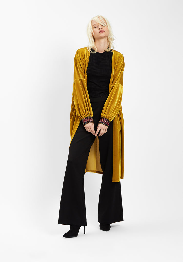 Traffic People JIC Velvet Long Duster Jacket in Gold Front View Image