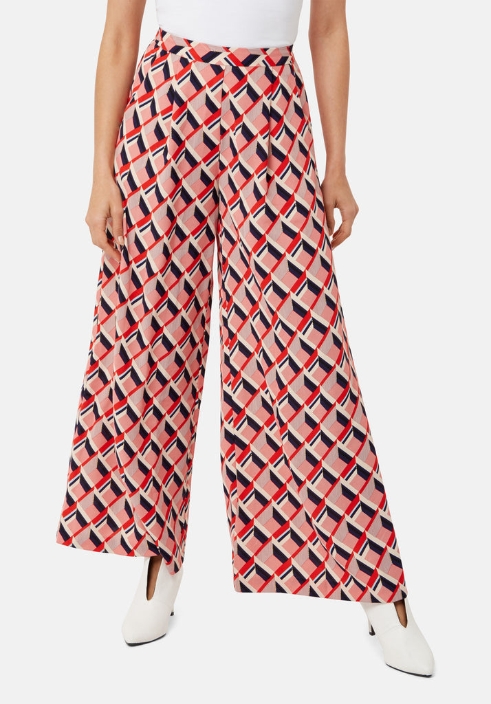 Traffic People Just Keep Staring Wide Leg Trouser in Red Geometric Print Back View Image
