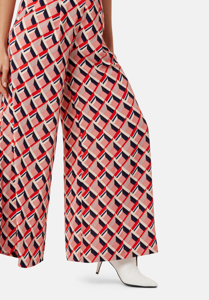 Traffic People Just Keep Staring Wide Leg Trouser in Red Geometric Print Close Up Image