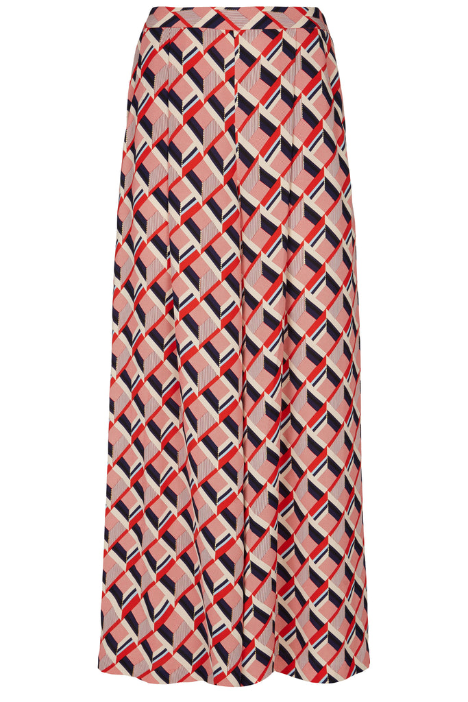 Traffic People Just Keep Staring Wide Leg Trouser in Red Geometric Print FlatShot Image