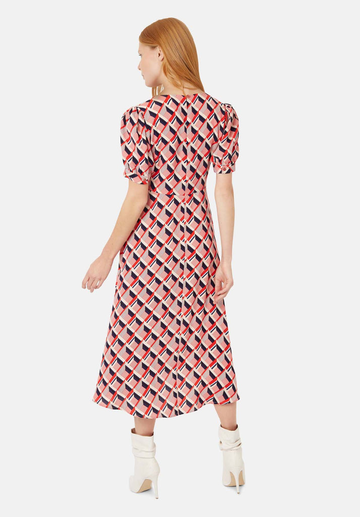 Traffic People Mia Geometric Print Midi Dress in Beige and Red Side View Image