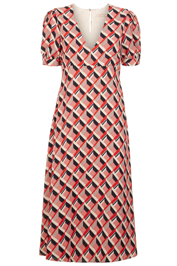 Traffic People Mia Geometric Print Midi Dress in Beige and Red FlatShot Image
