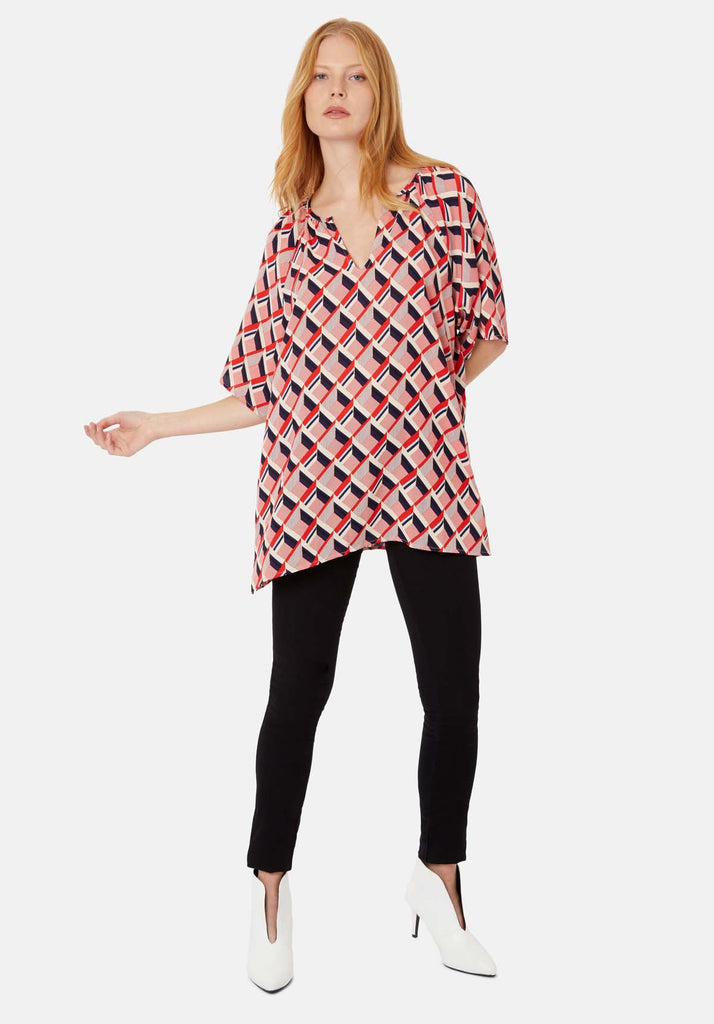 Just Keep Staring V-neck Tunic in Red and Beige