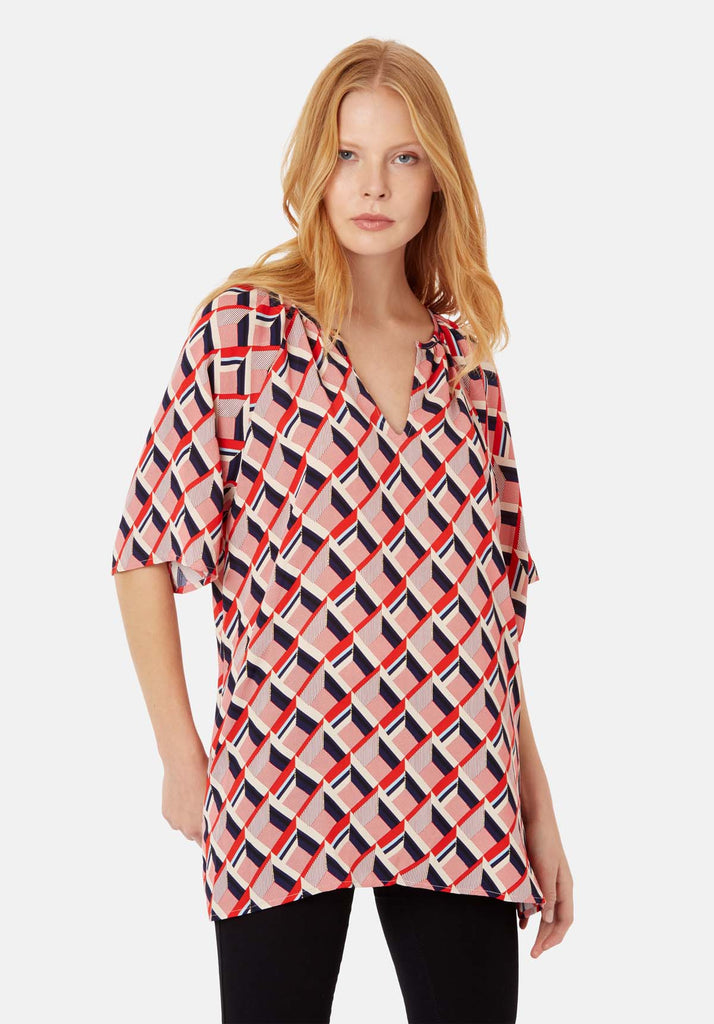 Traffic People Just Keep Staring V-neck Tunic in Red and Beige Back View Image