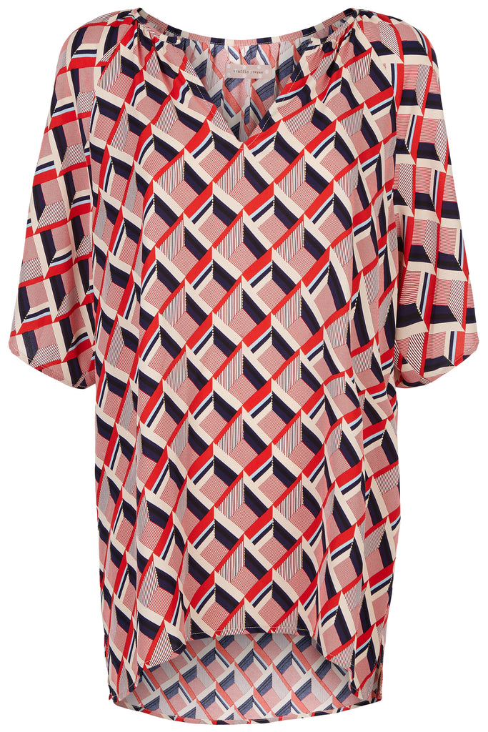 Traffic People Just Keep Staring V-neck Tunic in Red and Beige FlatShot Image