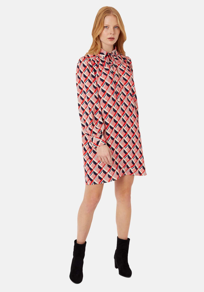 Traffic People Maisie Geometric Shirt Midi Dress in Multicoloured Front View Image
