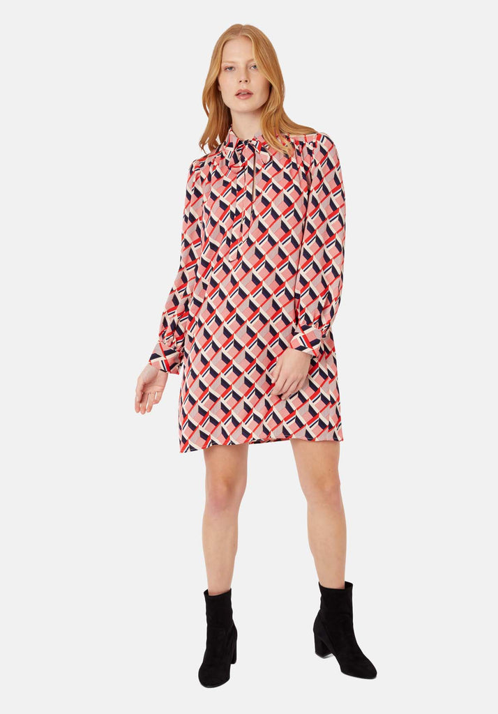 Maisie Geometric Shirt Midi Dress in Multicoloured