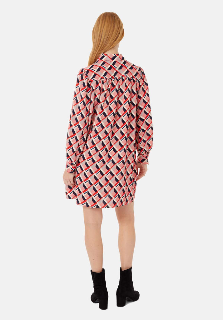 Traffic People Maisie Geometric Shirt Midi Dress in Multicoloured Side View Image