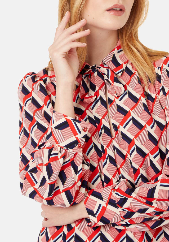 Traffic People Maisie Geometric Shirt Midi Dress in Multicoloured Close Up Image