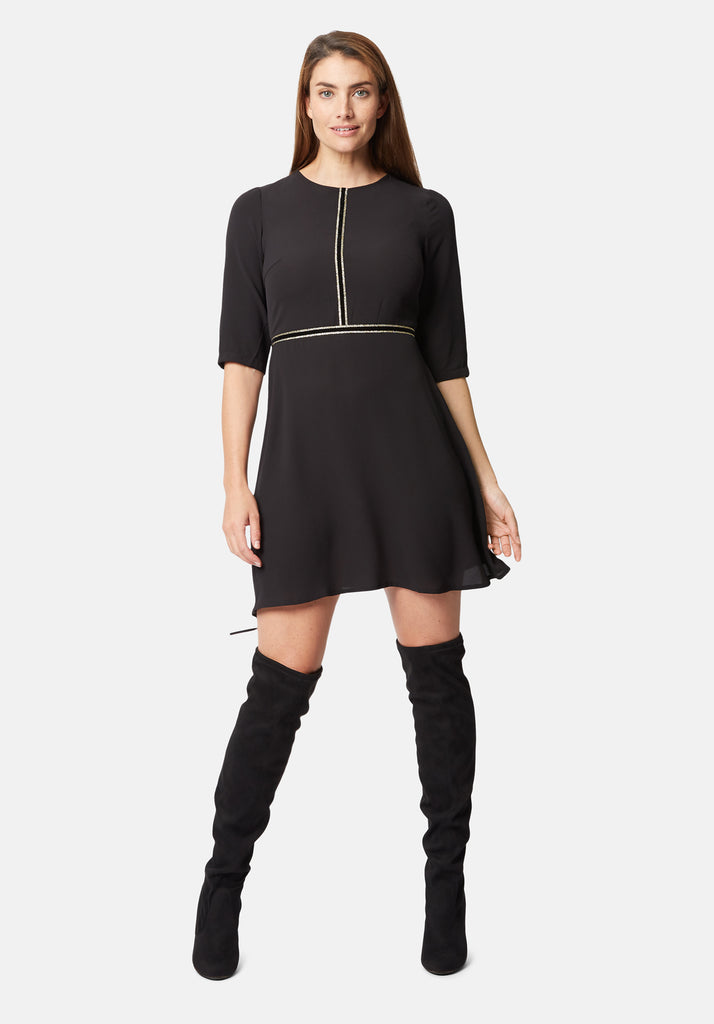 Traffic People Long Sleeve All The Trimming Mini Dress in Black Front View Image