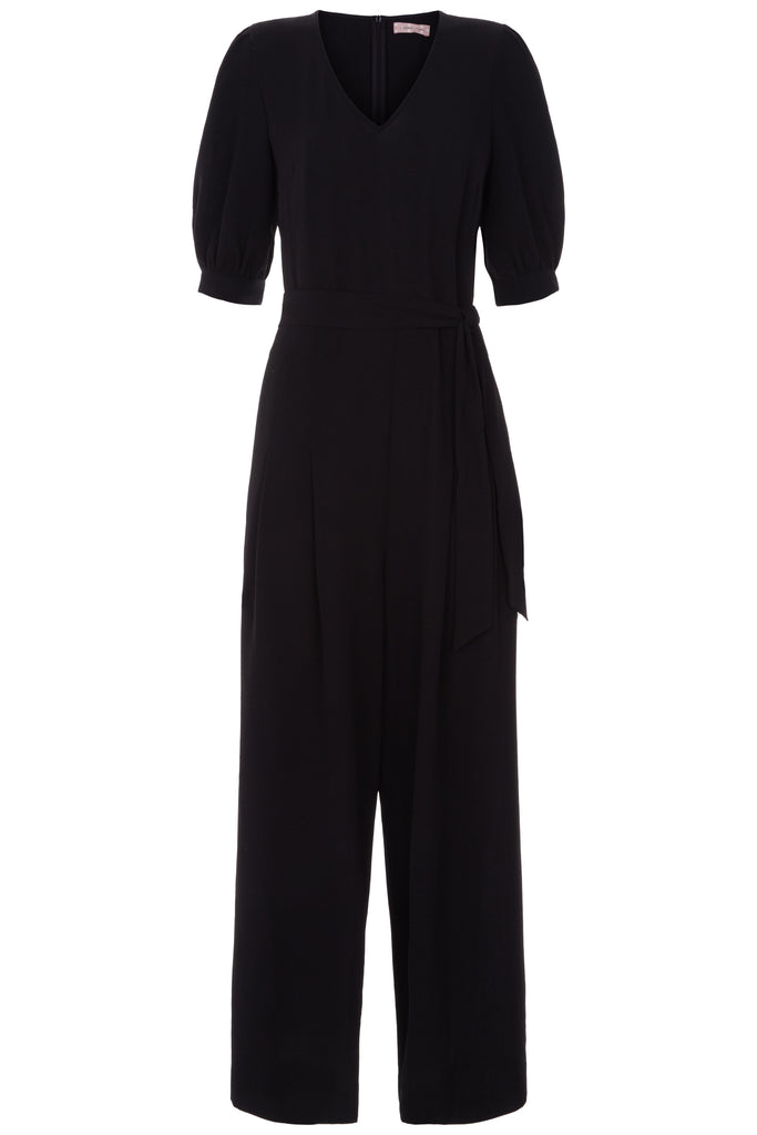 Traffic People Hetty Short Sleeve Black Jumpsuit Front View Image