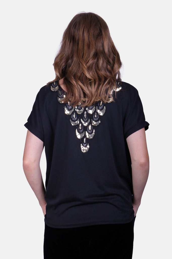 Traffic People Sequin Jewel of the Nile T-Shirt in Black Front View Image
