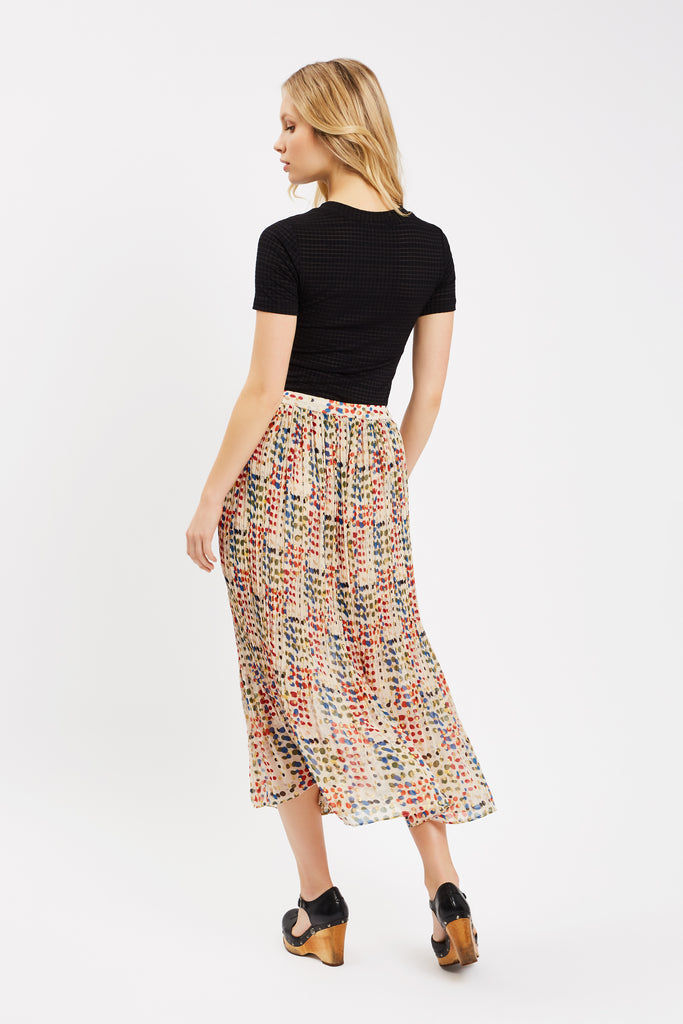 Traffic People Kaleidoscope Memories Midi Pleated Skirt in Cream Close Up Image