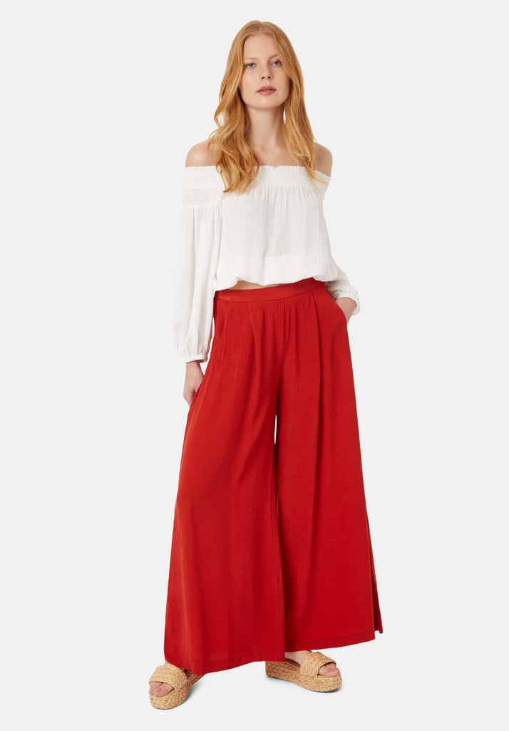 Traffic People Kiss Me Softly Wide Leg Trouser in Red Front View Image