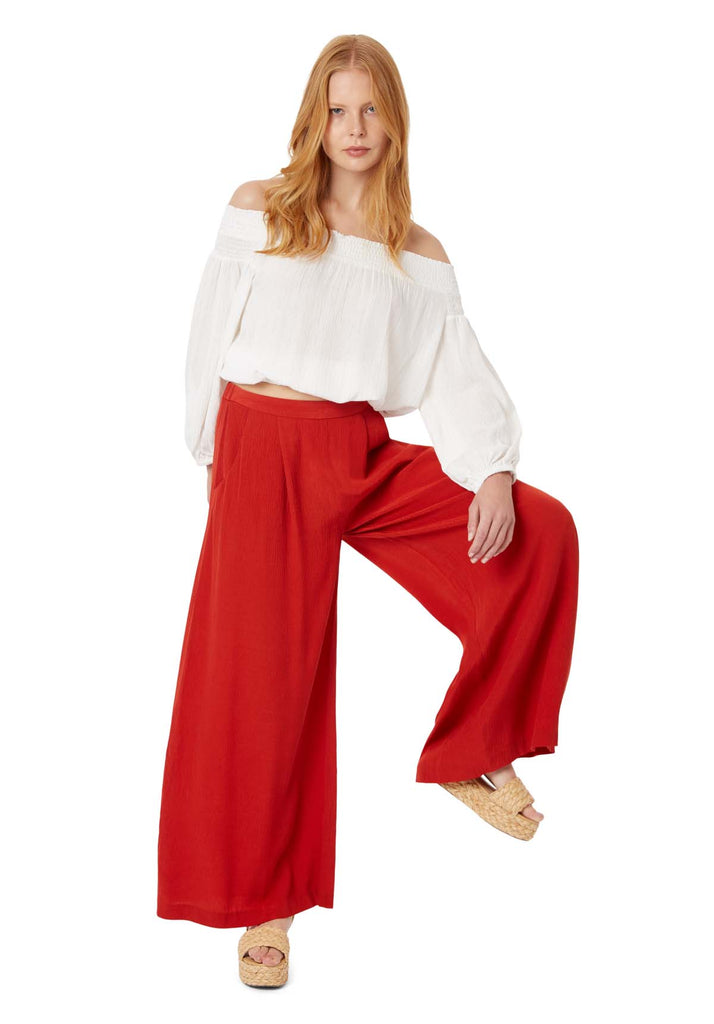 Kiss Me Softly Wide Leg Trouser in Red