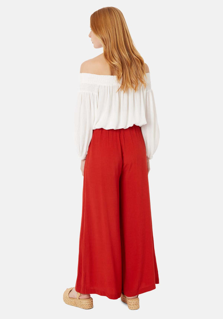 Traffic People Kiss Me Softly Wide Leg Trouser in Red Side View Image