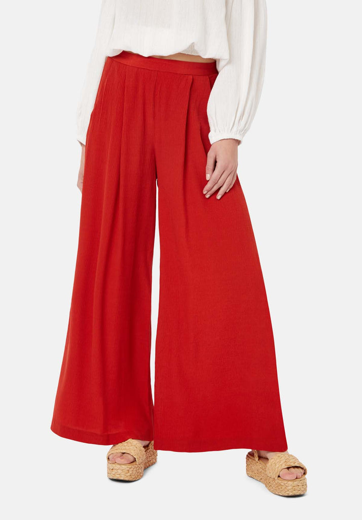 Traffic People Kiss Me Softly Wide Leg Trouser in Red Back View Image