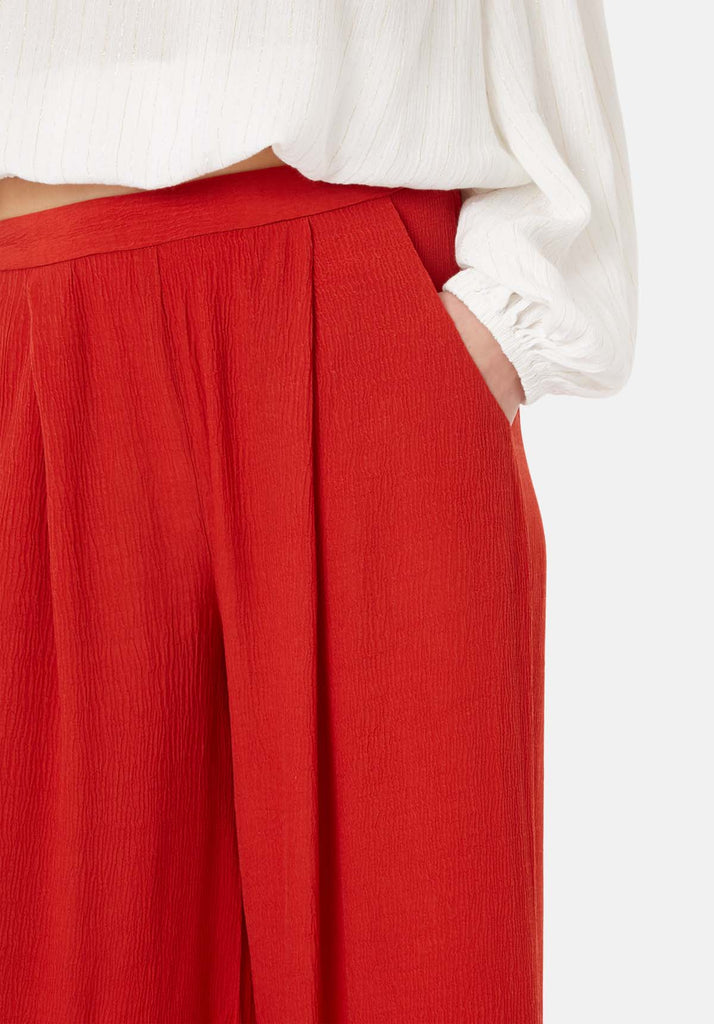 Traffic People Kiss Me Softly Wide Leg Trouser in Red Close Up Image