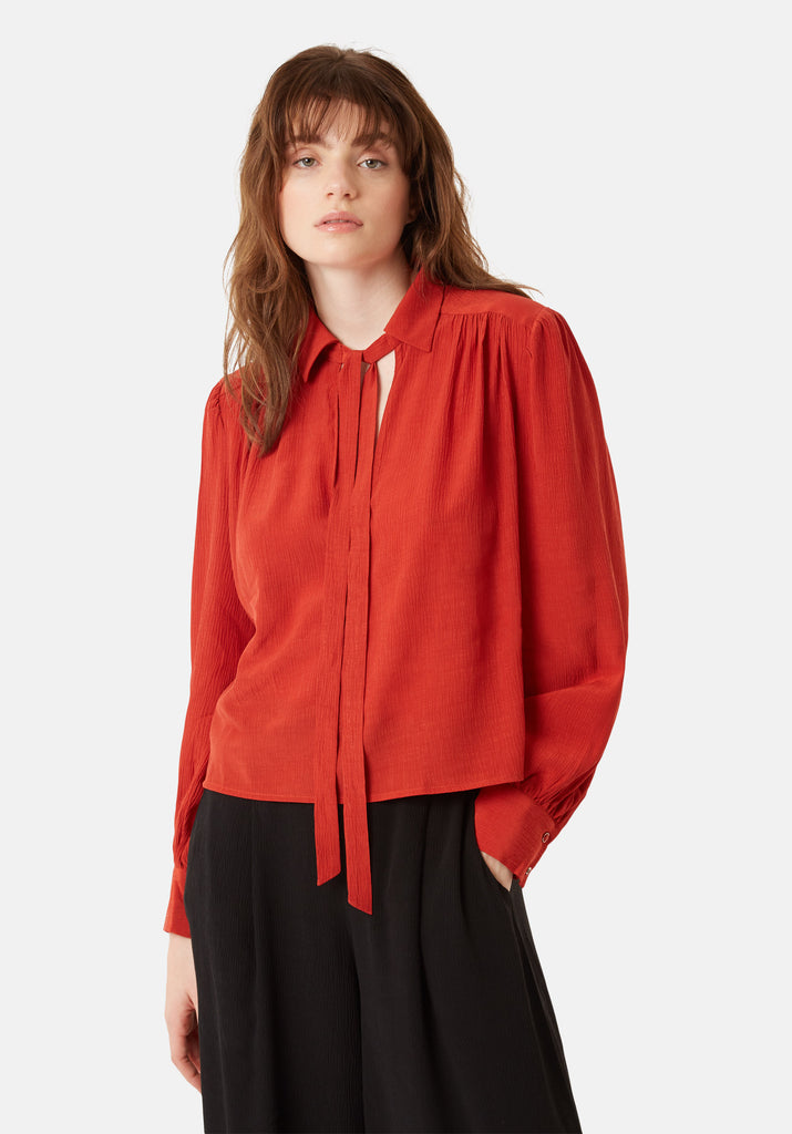Traffic People Maisie Chiffon Long Sleeved Pussy Bow Blouse in Red Close Up Image