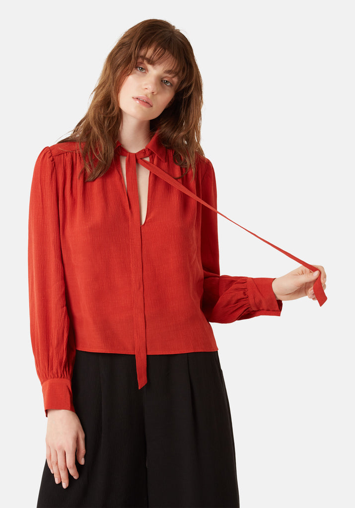 Traffic People Maisie Chiffon Long Sleeved Pussy Bow Blouse in Red Front View Image